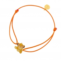 Bracelet cordon orange  en or jaune et laque, Simba Disney