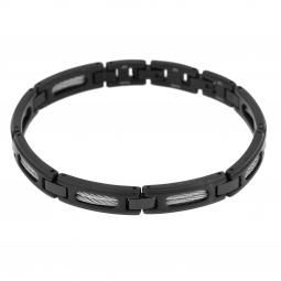Bracelet en acier noir et acier