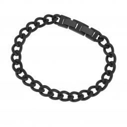 Bracelet en acier noir, maille gourmette