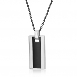 Collier en acier, acier noir et céramique