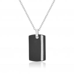 Collier en acier, acier noir et carbone
