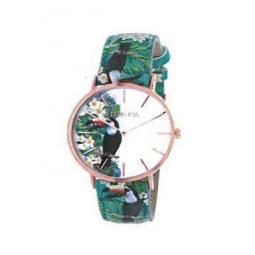Montre femme, boîte métal doré rose, bracelet cuir et simili cuir toucan, verre minéral