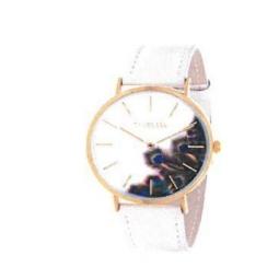 Montre femme, boîte métal doré, bracelet cuir et simili cuir rose nacré, verre minéral
