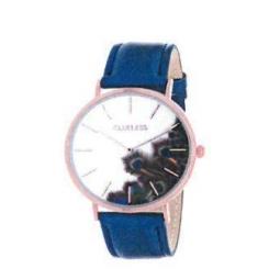 Montre femme, boîte métal doré rose, bracelet cuir et simili cuir bleu métalique, verre minéral