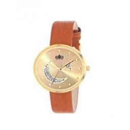 Montre femme, boîte métal doré, bracelet cuir et simili cuirmarron, strass lune et étoile, verre minéral