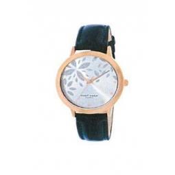 Montre femme, boîte métal doré rose , bracelet cuir et simili cuir bleu marine et verre minéral.