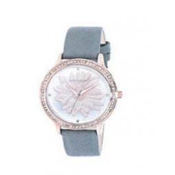 Montre femme, boîte métal doré rose et strass, bracelet cuir et simili cuir gris et verre minéral