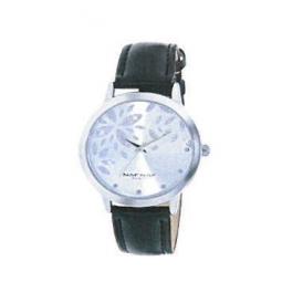 Montre femme, boîte métal, bracelet cuir et simili cuir noir, verre minéral et paillettes.