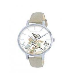 Montre femme, boîte métal, bracelet cuir et simili cuir beige et verre minéral.