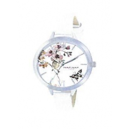 Montre femme, boîte métal, bracelet cuir et simili cuir blanc et verre minéral.