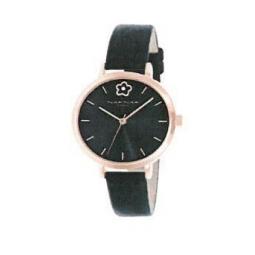 Montre femme, boîte métal doré rose, bracelet cuir et simili cuir noir et verre minéral.