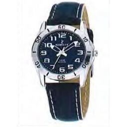 Montre femme, boîté métal, bracelet cuir bleu et verre minéral