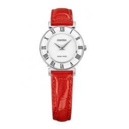 Montre femme, boîte acier, bracelet cuir rouge imitation croco et verre minéral