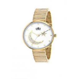 Montre femme, boîte métal doré, bracelet acier doré, strass lune et étoile, verre minéral
