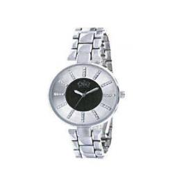 Montre femme, boîte métal, bracelet acier, strass et verre minéral