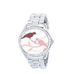 Montre femme, boîte métal et strass, bracelet acier et verre minéral