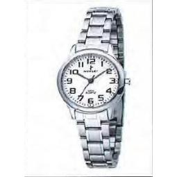 Montre femme, boîte acier, bracelet acier et verre minéral