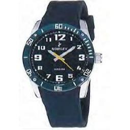 Montre homme, boîte métal, bracelet silicone bleu marine et verre minéral