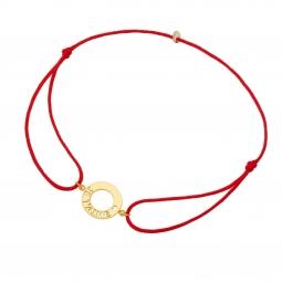 Bracelet cordon rouge en or jaune, je t'aime
