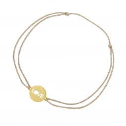Bracelet cordon en or jaune, LOVE
