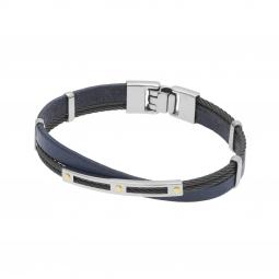 Bracelet en or jaune, cable acier et cuir