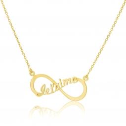 Collier en or jaune, motif infini je t'aime