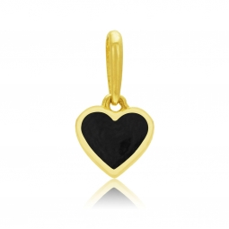 Pendentif en or jaune et laque noire, coeur