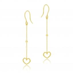 Boucles d'oreilles pendantes en or jaune, coeur
