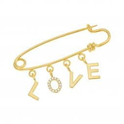 Broche en plaqué or et oxydes de zirconium, Love