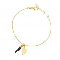 Bracelet en argent doré, pampilles et laque