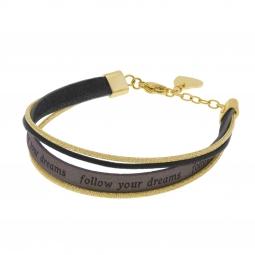 Bracelet en acier doré et simili cuir, Follow your dreams