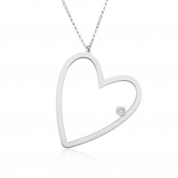 Collier en argent rhodié, cristal de synthèse, coeur
