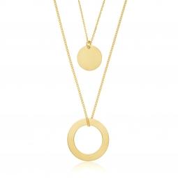 Collier en argent doré, double chaines et plaques rondes