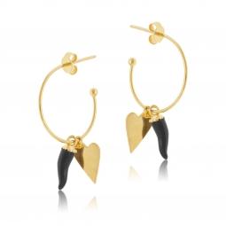 Boucles d'oreilles en argent doré et laque noire