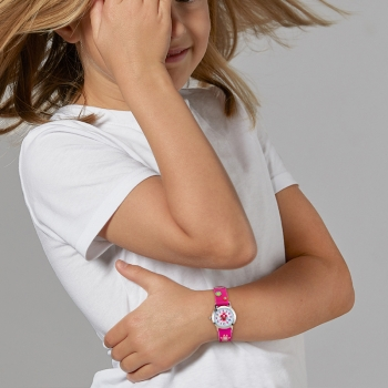 Montre, boîte acier, bracelet silicone, verre minéral, kids