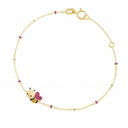 Bracelet en or jaune et laque, abeille