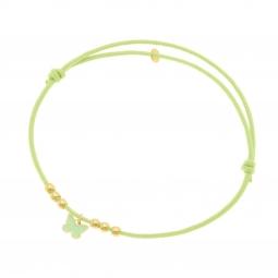 Bracelet cordon vert en or jaune et laque, boules or