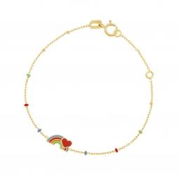 Bracelet en or jaune et laque, arc-en-ciel