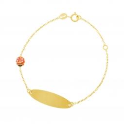 Bracelet identité en or jaune, oxydes de zirconium et laque