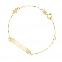 Bracelet identité en or jaune coeur, plaque rectangle