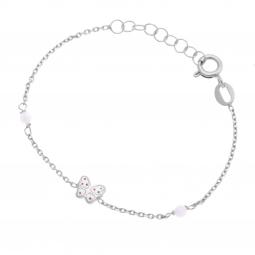 Bracelet en argent rhodié, pierre synthétique et laque