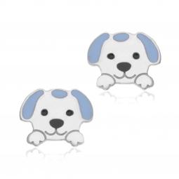 Boucles d'oreilles en argent rhodié et laque, chien
