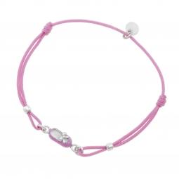 Bracelet cordon en argent rhodié et laque rose