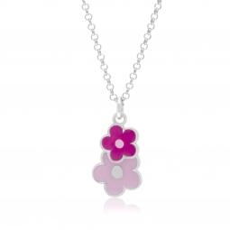 Collier en argent rhodié, laque rose, fleurs