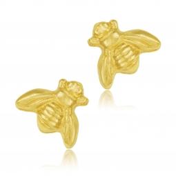 Boucles d'oreilles en plaqué or, abeille