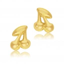 Boucles d'oreilles en plaqué or, cerises
