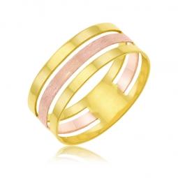 Bague en or jaune et rhodié rose
