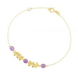 Bracelet en or jaune et améthystes briolettes