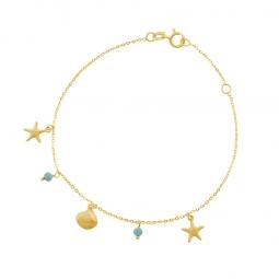 Bracelet en or jaune et turquoises, coquillages et étoiles de mer