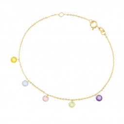 Bracelet en or jaune et oxydes de zirconium briolette